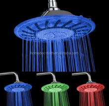 "NEW 6"" ABS Colorful Rainfall hydro power 3 colors led top shower heads"