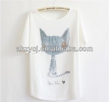 New lady fashion tee tops batwing sleeve cute cat design summer t-shirt wholesale