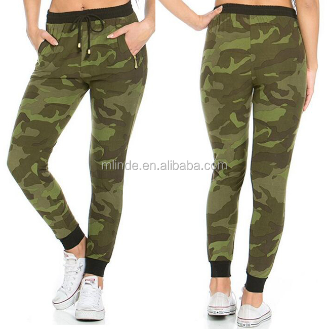 Solid Color Wholesale French Terry Custom Made Fitted Banded Drawstring Camouflage Jogger Sweatpants New Fashion