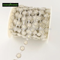 elegant fancy round pearl and rhinestone cup chain WB73P