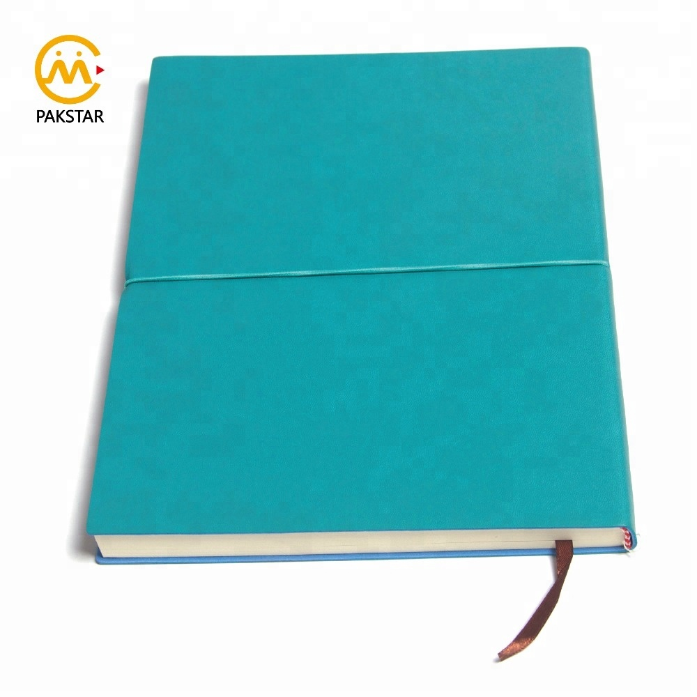 Wholesale custom made ribbon bookmark PU leather school personal diary with elastic band
