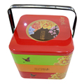 Creative biscuit iron box with handle and plug lid ,Food grade cookie iron box
