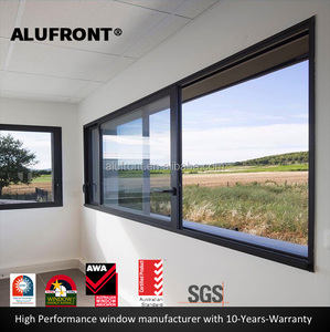 AS2047 certified and US certified aluminium sliding glass window with double insulated glazing
