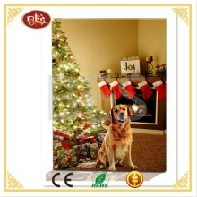 Modern wall decoration painting of christmas trees and dog light up painting on canvas.