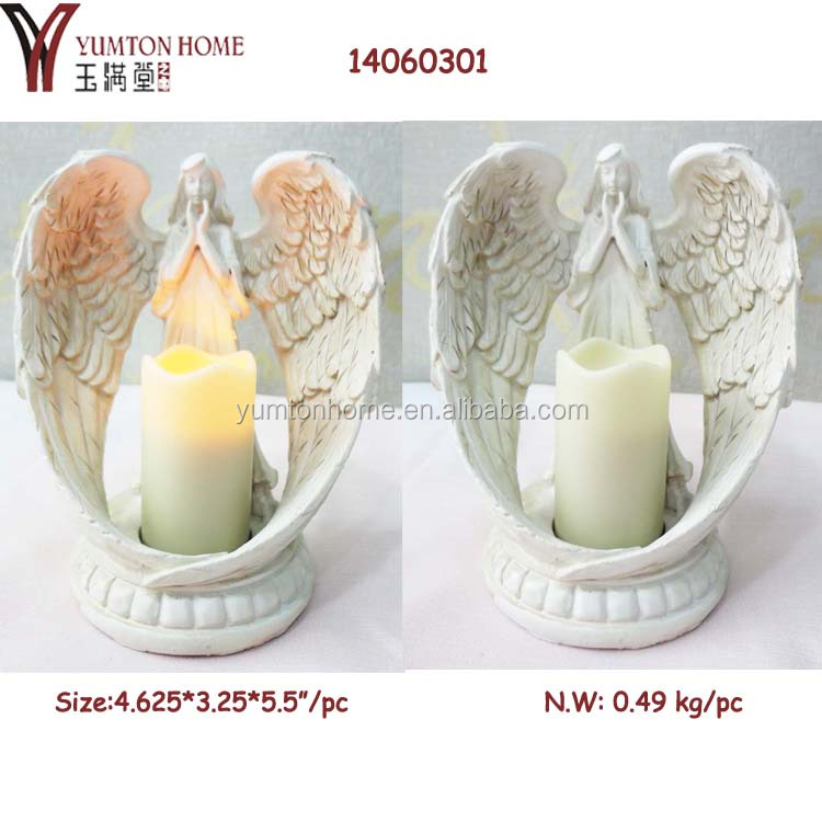 Resin angel figurine with LED light for home decor