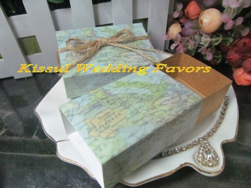 Around the World Map Wedding Gift boxes For Travel themed Wedding candy box