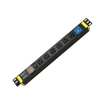 USA PDU Socket 19'' 1U 6 outlets with switch and overload protector and 2 USB ports