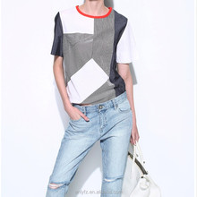 Casual Wearing Loose Round Neck Short Sleeve Ladies Tee Shirt Custom Long Womens T-shirt With Pocket