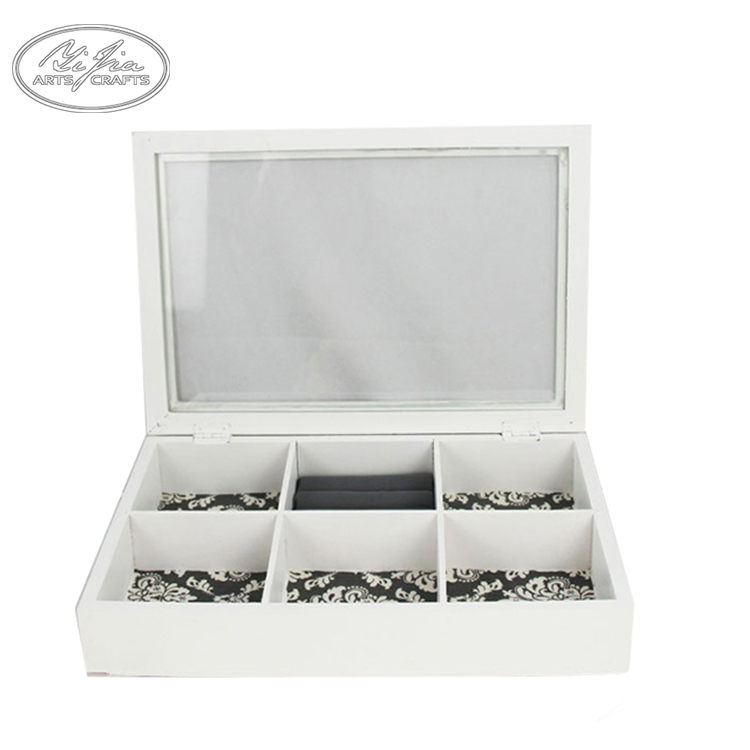 Handmade customized makeup jewelry storage packaging box small wooden display boxes with glass lid