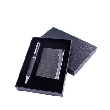 2018 Custom Leather Boxed gift set promotion gift giveaways pen set with business card holder