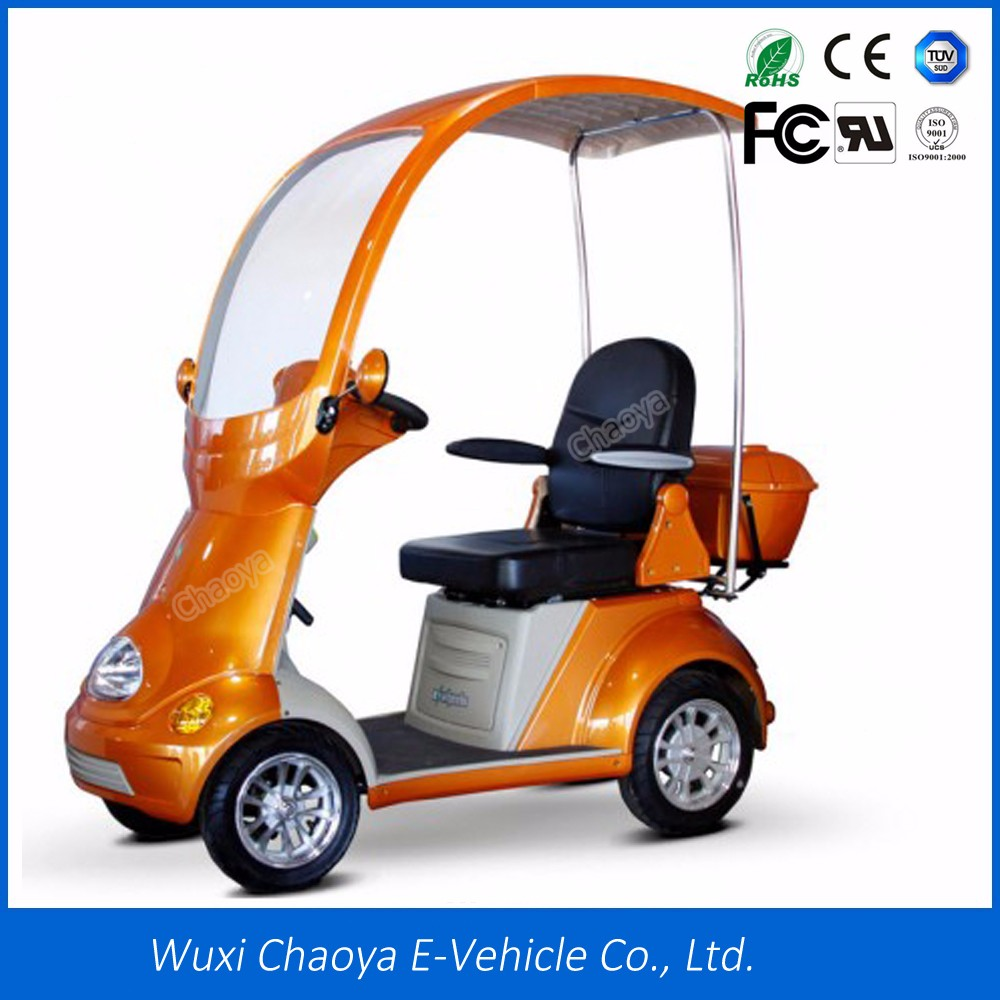 Quality-Assured big wheels classic 4 wheel electric scooter with roof for adult wtih MP3/FM Speaker