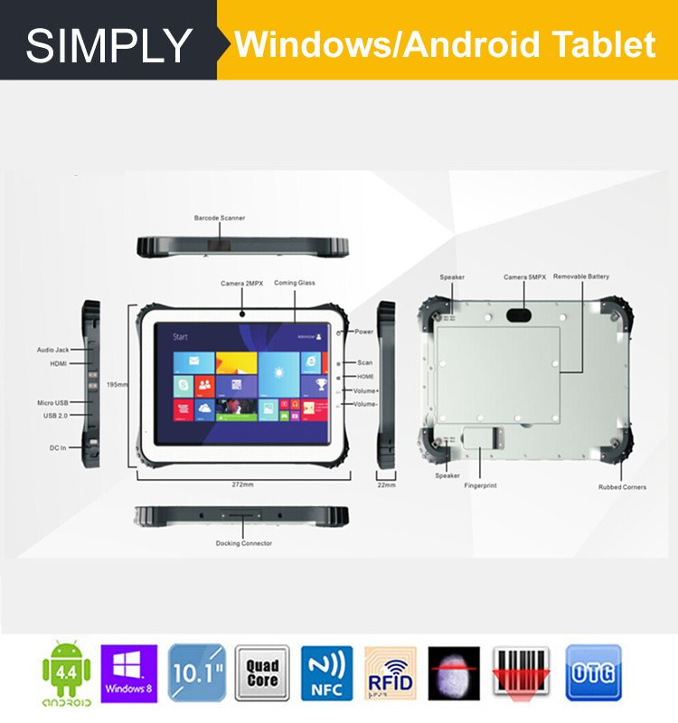 Simply T10 1280*800 ips industrial rugged tablet pc with 4G network /intel processor /2+64GB memory/Dragontrail Glass/10000mAh