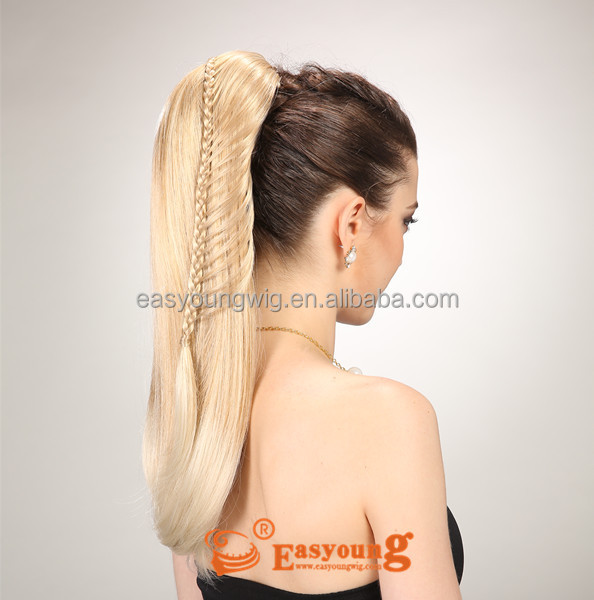 braid ponytail hair pieces, synthetic claw clip ponytail