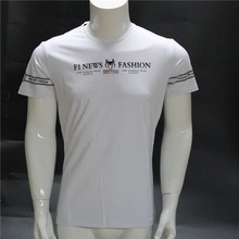 white t shirt with custom logo heat-tranfer and printing elastic tee OEM