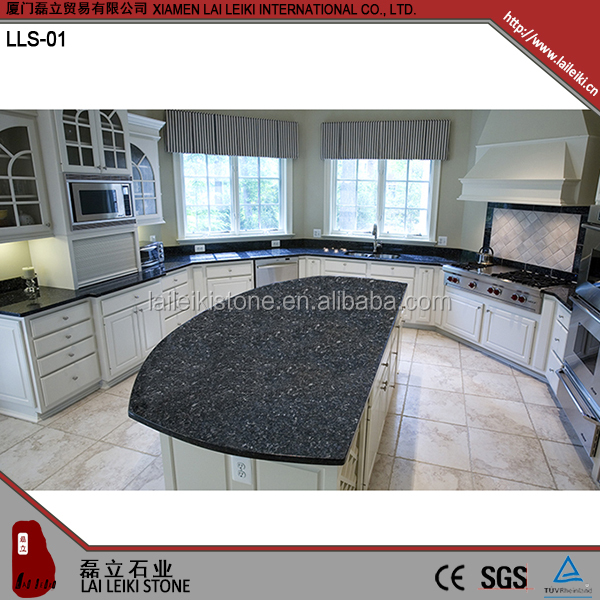 Simple design polished cold resistant Blue Pearl granite top for dining table