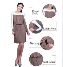 Long sleeve maternity pregnant office woman breastfeeding dress tops