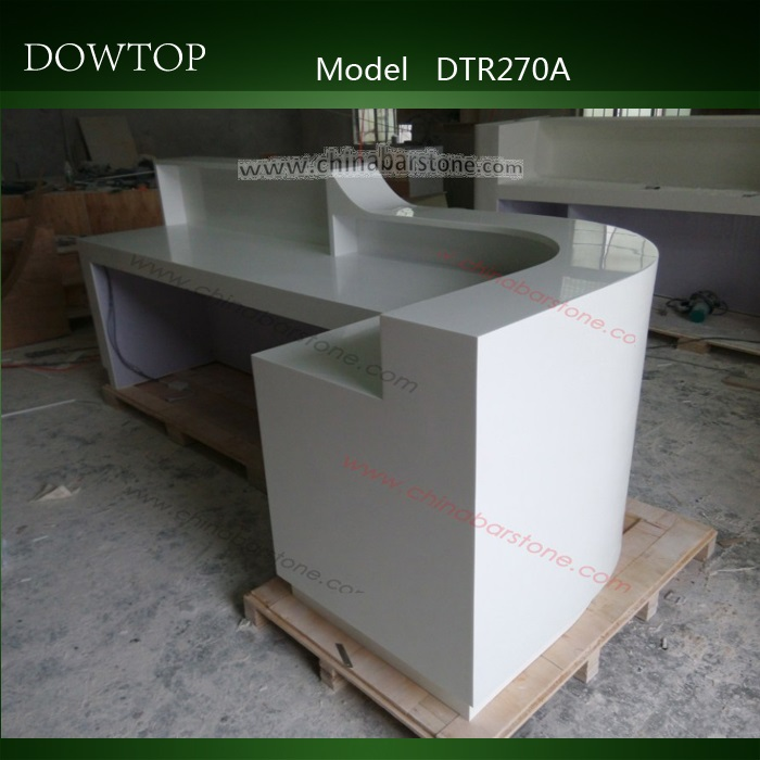 Modern design white L shape wood reception counter and artificial marble reception desk