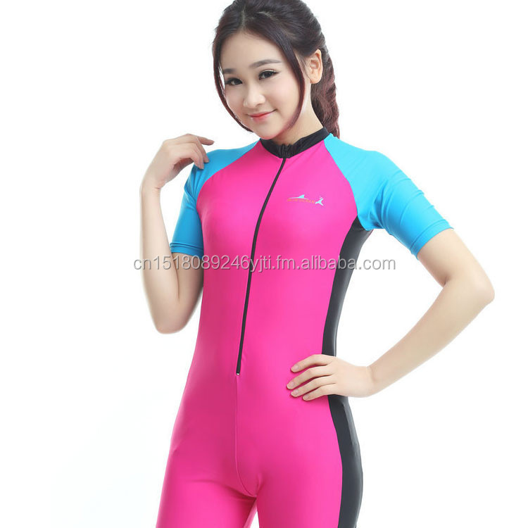 pink blue one piece swim wear short leg sleeve UPF50+high quality dive suits surfing suits (8).jpg