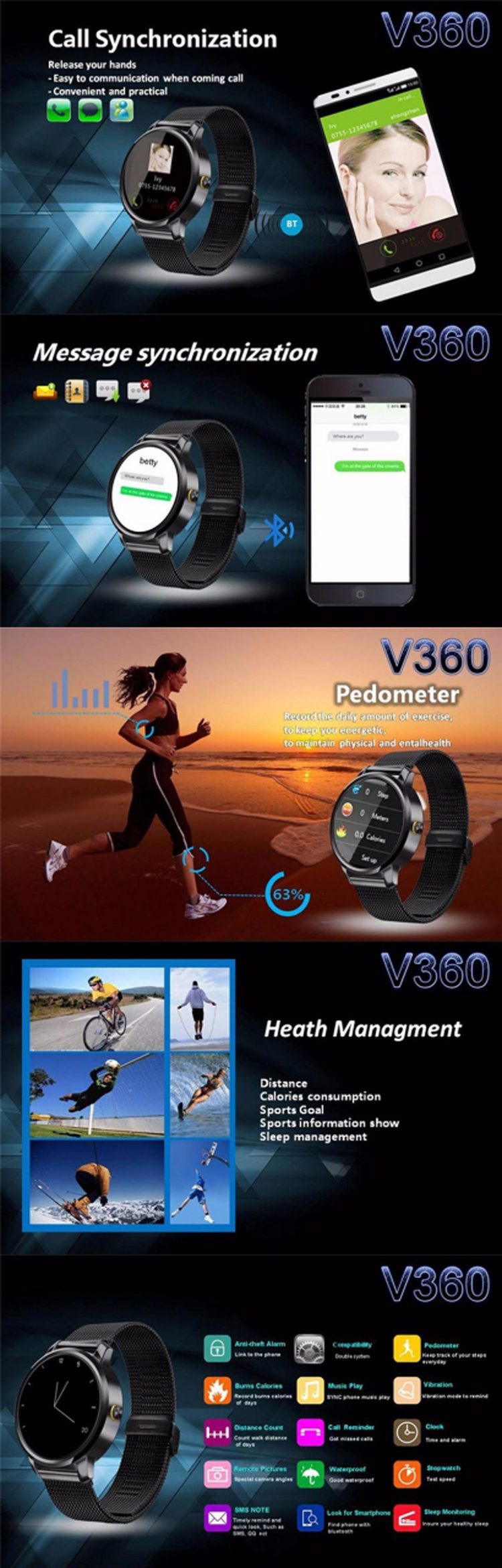 V360 Big Screen leather Fitness Activity Tracker Android 4.3 gt88 smart watch