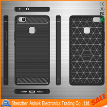 Wire Drawing Case Shockproof Carbon Fiber Protective Silicone Case for Huawei P9 Lite