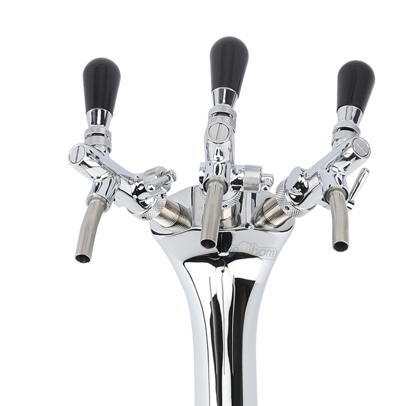 Top Quality Chrome Plated Brass Triple Faucet Snake Font, Beer Tower, Cobra Double Tap Flow Control Beer Tap