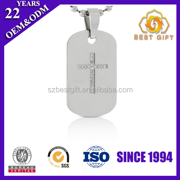 Cheap stainless steel mens cross dog tag necklaces