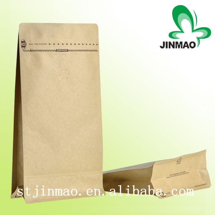 Side gusset flat bottom Kraft paper bag with valve for coffee packaging bag