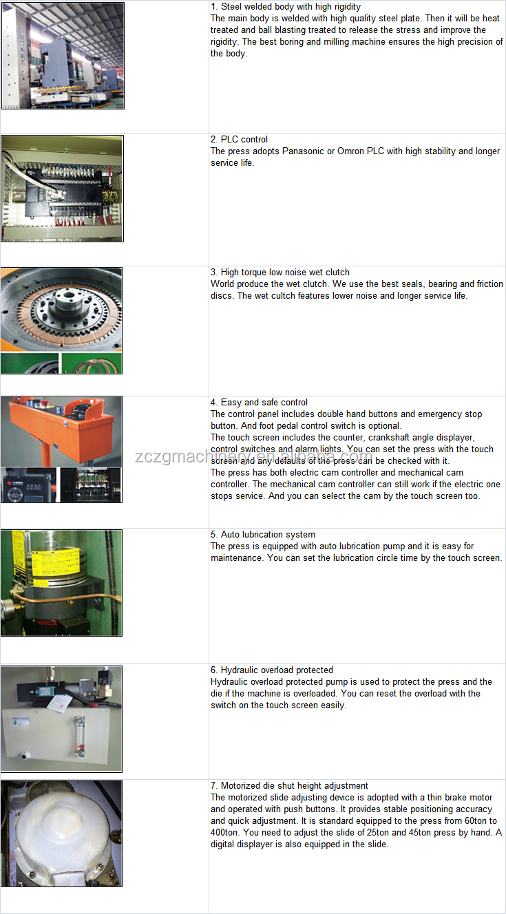 JH21-100 to 200 ton C frame mechanical press machine for gas stove