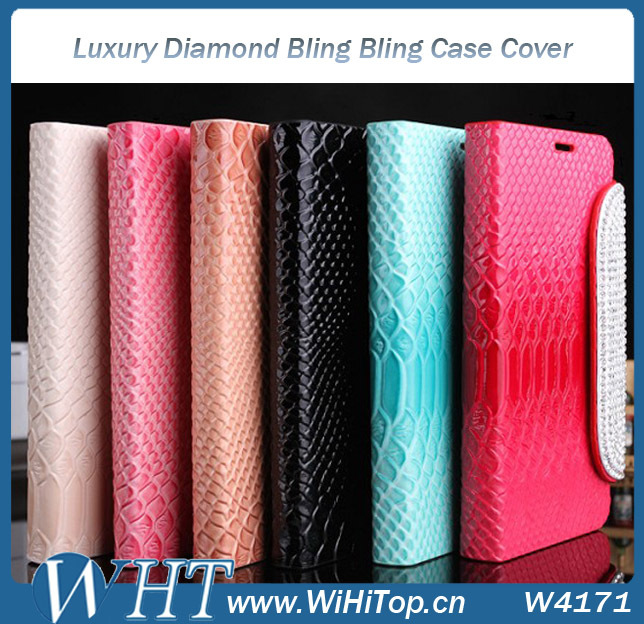 Luxury Diamond Case Crocodile Top Quality Leather Wallet Cover For Samsung Galaxy Note 2 N7100