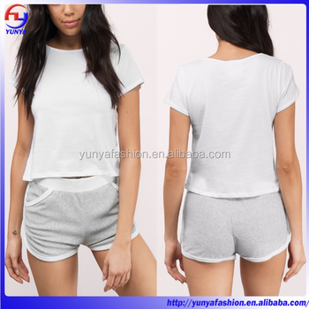 latest design grey terry women shorts