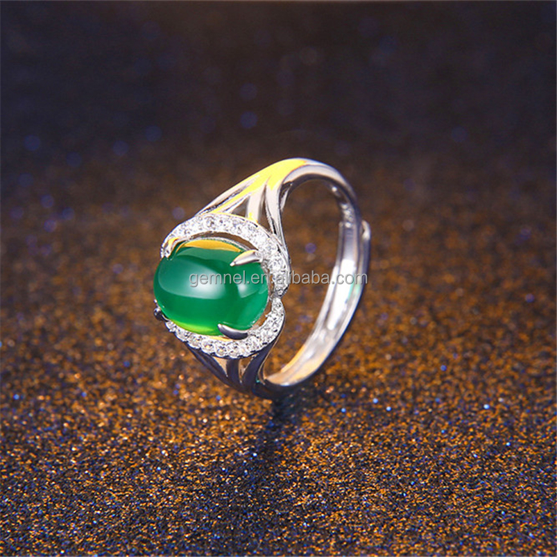 925 Sterling Silver Oval Emerald Birthstone Natural Gemstone Ring Size 5-8