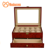 Hot selling products watch box with jewelry drawer shape designshape and cufflink