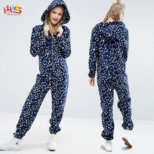 Christmas Star Print Adult Onesie in Fleece Fashion Couple Onesie with Hood HSs7529