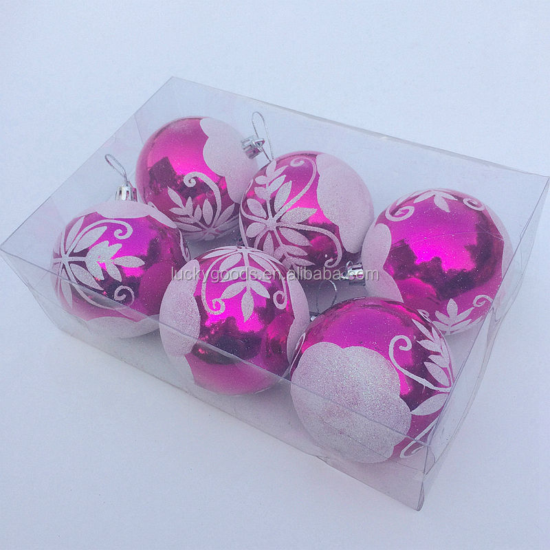 2014 wholesale christmas ball plastic custom silkscreen pattern logo printed christmas ball