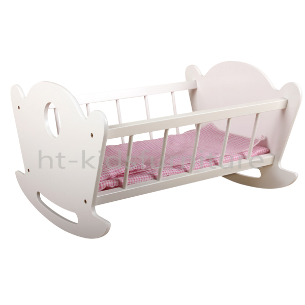 "50x40x(H)30CM Lovely Roll Play Interactive 3+ Years 18"" Wooden Doll Bed For Wholesale, Customizable Design"