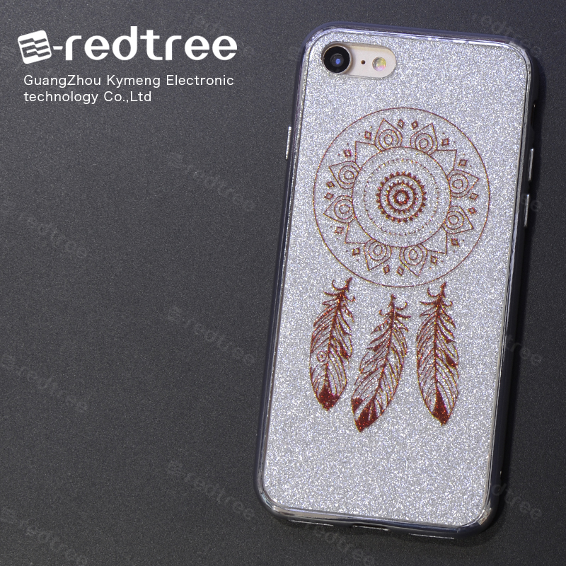 E-redtree Dreamcatcher TPU Bling Glitter Electroplate Shockproop mobile phone back cases cover for ZTC Z812 for samsung C7