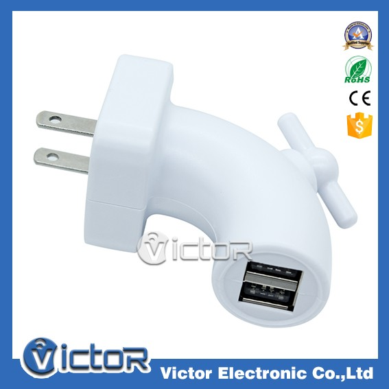 Universal fast speed 2 connector water tap design USB charger for all phones