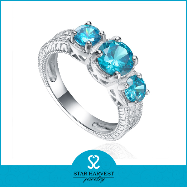 Factory for genuine 925 sterling silver aquamarine ring