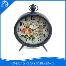 Art Home Round Wrought Iron Decoration Free Stand Desk Clock