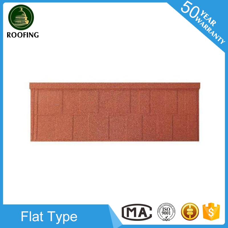 2016 hotsale Flat red color metal roof tile,stone coated steel roofing tiles for wholesales