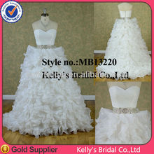 2014 Sexy dress designs corset bodice wedding gowns with heavy beaded belt