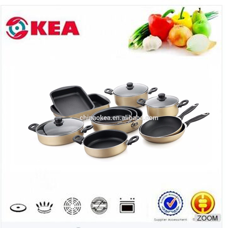 14pcs Aluminum pressed well equipped kitchen cookware non-stick cookware with bakelite handle