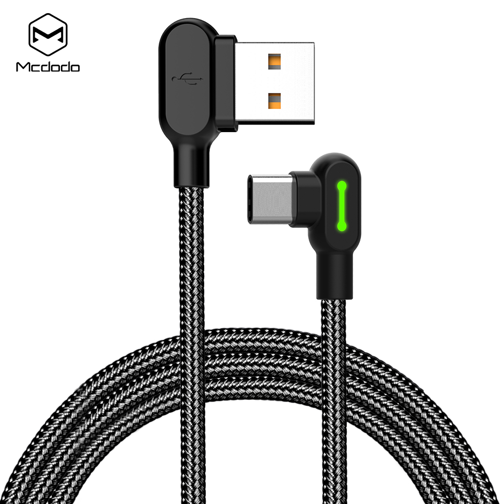 Mcdodo dual 90 degree design for mobile game,nylon braided 0.5m/1.2m/1.8m/3m date cable for Type-<strong>C</strong> .