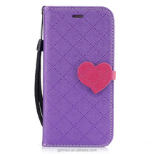 Heart Grid Flip Wallet PU Leather Case For iPhone 6 6Plus 7 7Plus With Card Card Slot