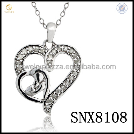 2017 Custom Mother and baby double heart shapep necklace,engraved 925 paved crystal diamond pendant necklace