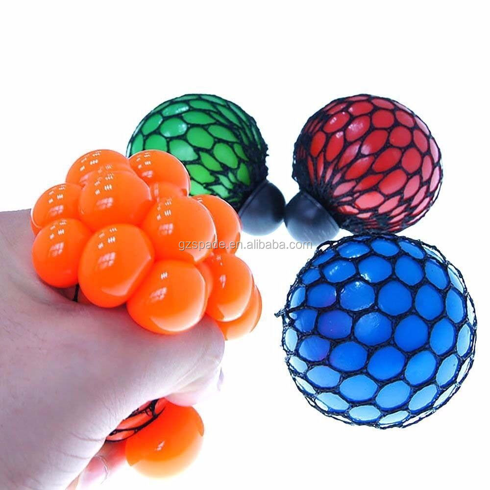 Bead Stress Ball Rubber squeeze grape ball Toy Mesh Squishy Ball