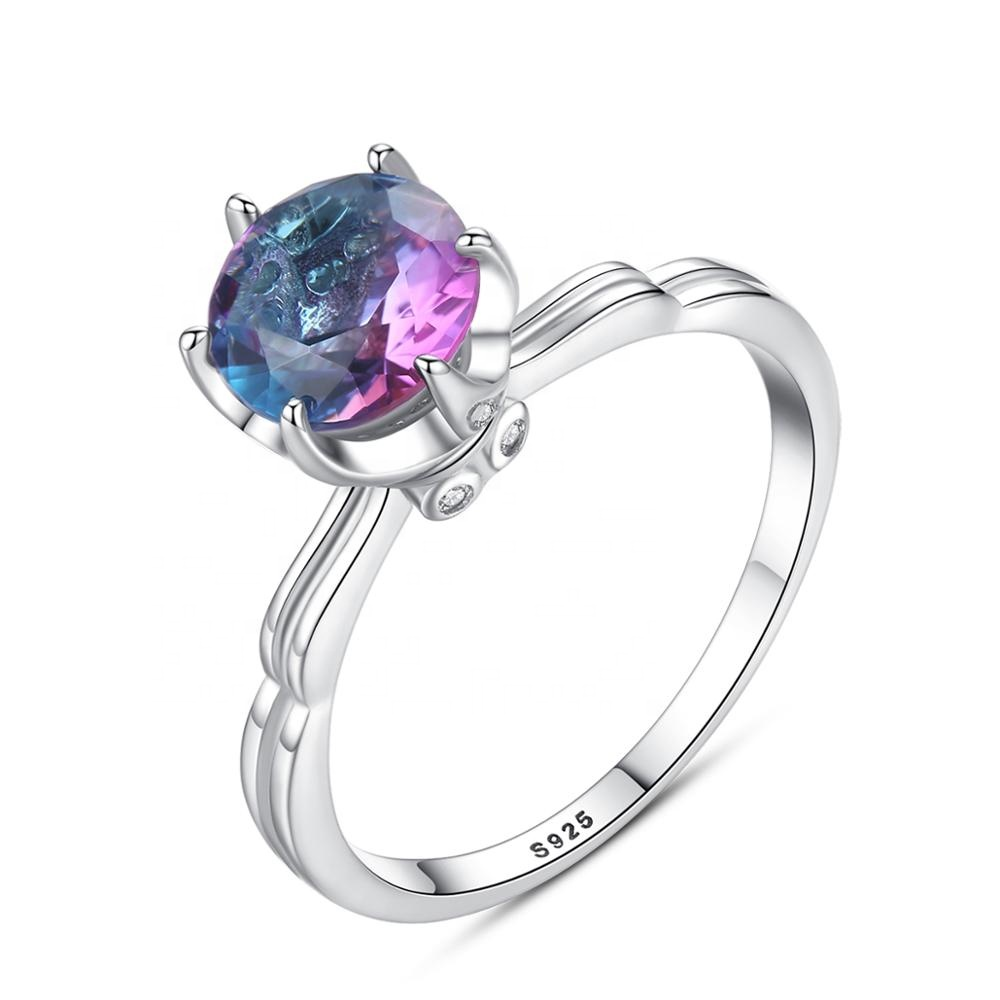 CZCITY 18K White Gold Plated 925 Sterling Silver Mystic Topaz <strong>Ring</strong>