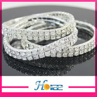 2rows wholesale cheap fashion bride decoration crystal strass wedding bracelet