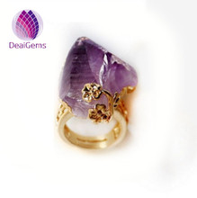 Hot sale natural amethyst and citrine gemstone druzy ring