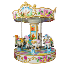 Outdoor cheap amusement park small electric plastic musical kids christmas carousel rides horse for sale
